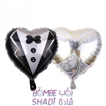 بادکنک فویلی کارتی قلب عروس داماد